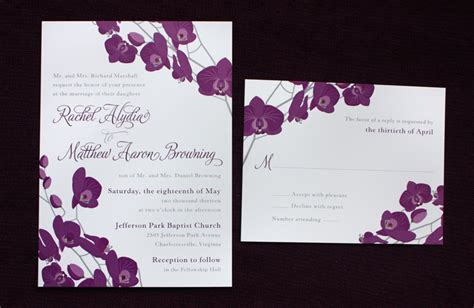 Purple Gray Orchid Floral Wedding Invitations Emdotzee Designs Orchid Wedding Invitation Template