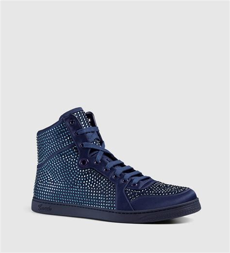 gucci sneakers for gucci high top sneaker with studs in blue for