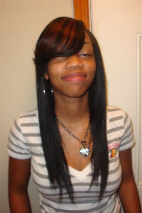 straight hair sew in styles straight sew in hairstyles with side bangs places to
