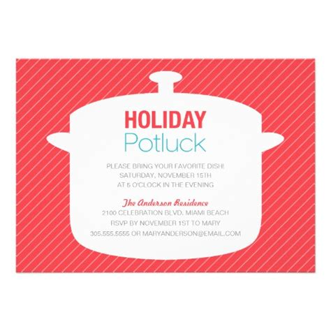 red crock pot holiday potluck invitations 5 quot x 7