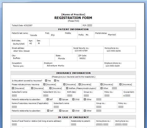 Printable Registration Form Templates Word Excel Sles Personal Registration Form Template