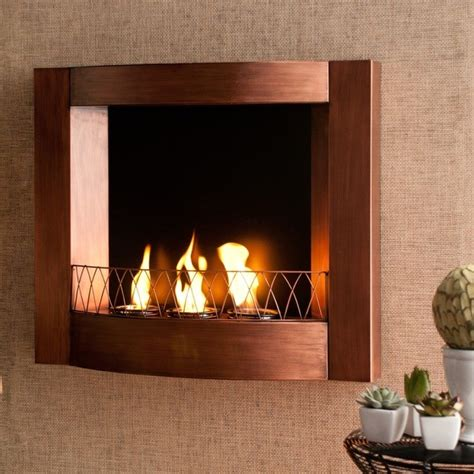 indoor wall fireplace copper wall mount fireplace contemporary