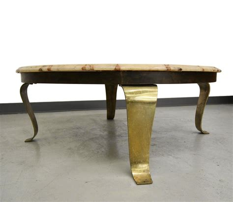 brass and onyx coffee table by muller onyx of mexico for