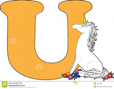 color with u letter u with a unicorn stock photos image 13152483