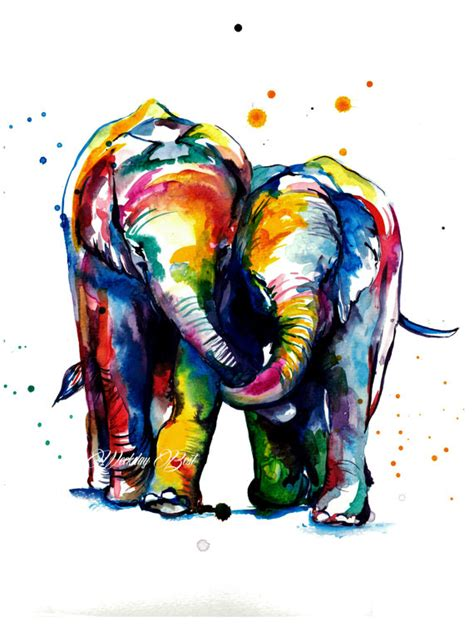colorful elephant two elephants holding trunks colorful print of original