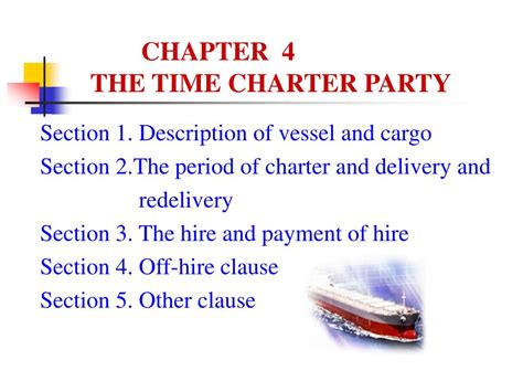 What Is Section 1 Of The Charter by Ppt Chapter 4 The Time Charter Powerpoint