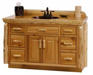 rustic woodland cottage cedar log vanity log bathroom