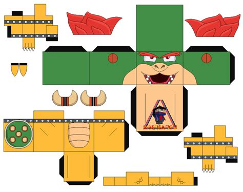 Paper Craft Mario - bowser mario bros 2 cubeecraft papercraft by