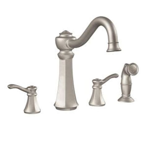 moen vestige 2 handle side sprayer kitchen faucet in spot