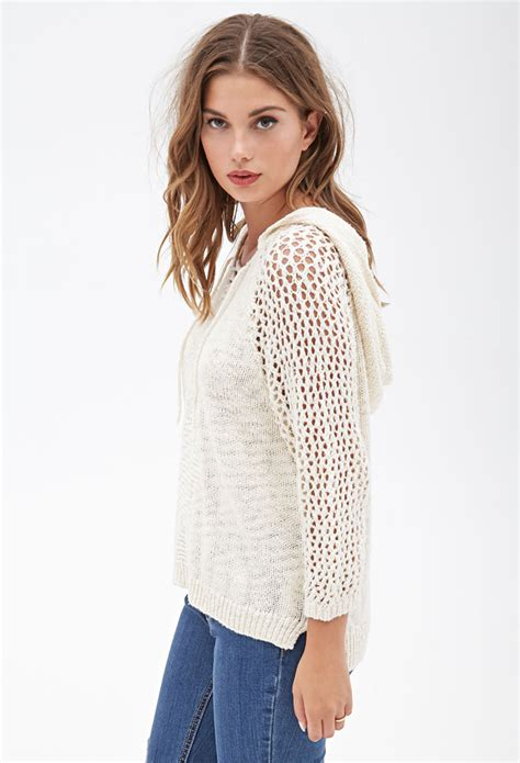 forever 21 open knit sweater forever 21 hooded open knit sweater in lyst