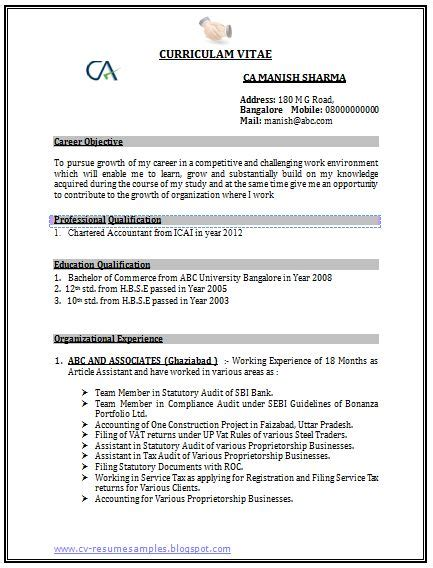 resume format for experienced accountant doc professional curriculum vitae resume template sle template of a chartered accountant ca