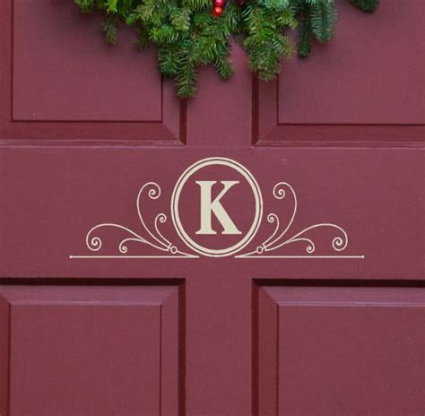 Front Door Monogram Letters Vinyl Decal Monogram Letter With Scrolls Front Door Decor Mailbox Decals And Personalized Gifts