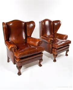 pair of walnut leather wing chairs 19thc antiques atlas