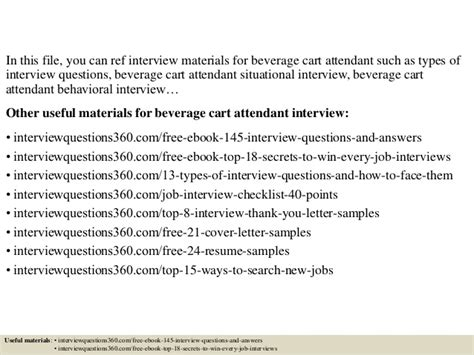 Bell Attendant Cover Letterbeverage Cart Attendant Cover Letter by Top 10 Beverage Cart Attendant Questions And Answers