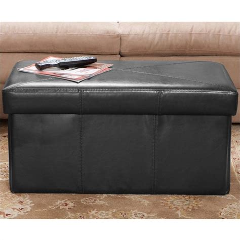black ottoman storage bench trent home angie leather storage ottoman bench in black