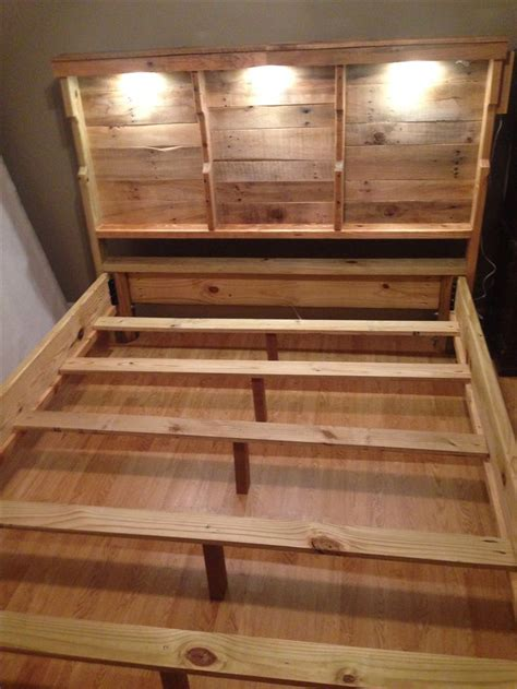 headboard made out of pallets pallet headboard with accent lighting for the home