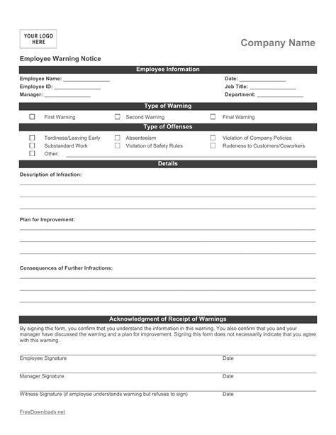 Download Employee Write Up Form Pdf Rtf Word Freedownloads Net Employee Write Up Template Pdf