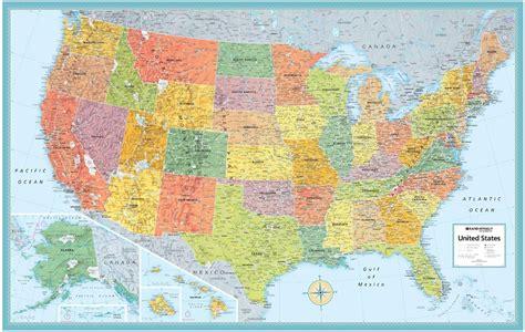 us map blue themapstore rand mcnally usa wall map blue