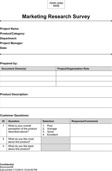 market research template doc the market research survey template 1 can help you make a
