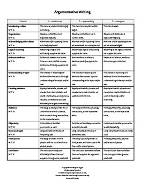 Writing Rubric For Argumentative Essay by 7th Grade Ccss Argumentative Writing Rubrics Argumentative Writing Rubrics And School