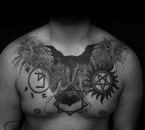 supernatural chest tattoo 40 anti possession designs for supernatural ideas
