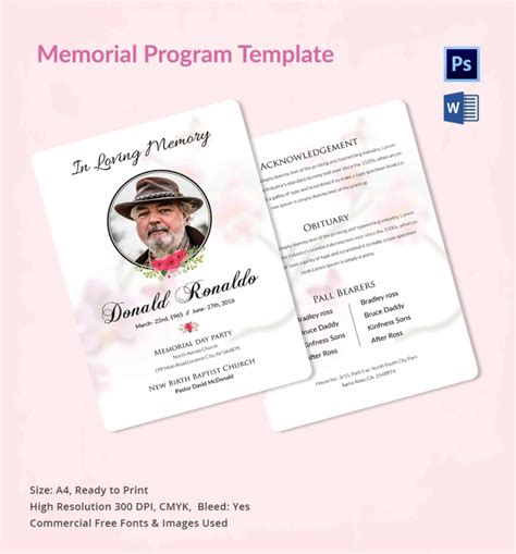 5 Memorial Program Templates Free Word Pdf Psd Documents Download Program Design Trends Funeral Program Template Docs