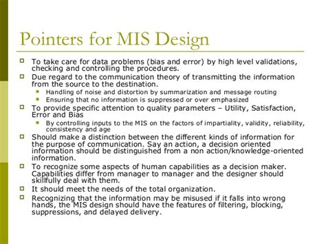 design of management information system management information system mis