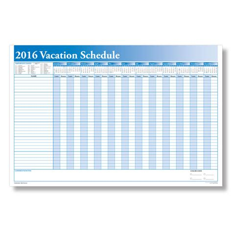 Vacation Calendar Printable 2016 Employee Vacation Calendar Template 2016