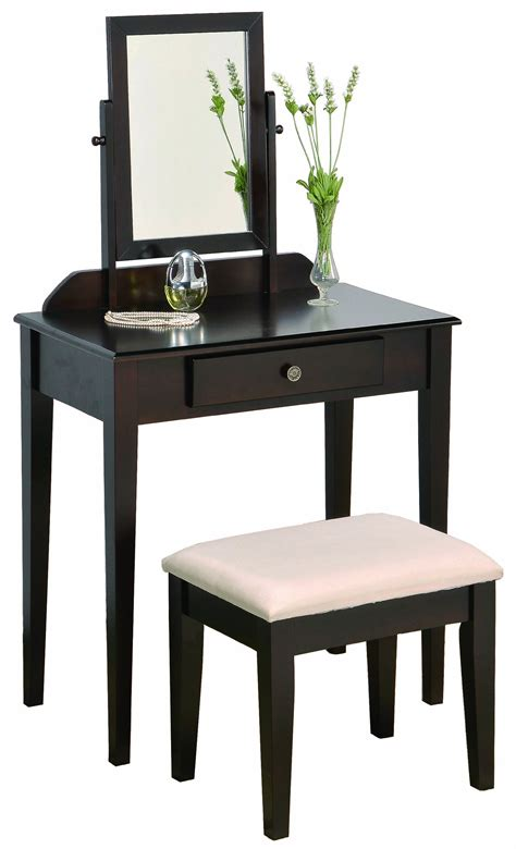 Crown Vanity by Crown Iris Vanity Table Stool Espresso Finish With