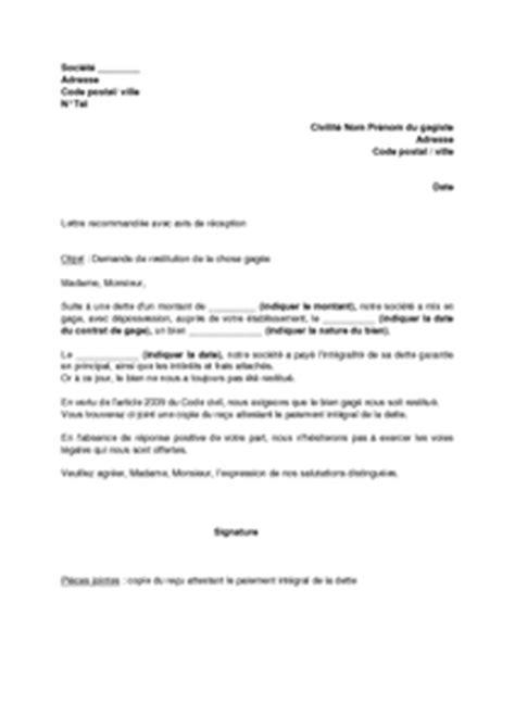 Lettre De Demande De Quelque Chose lettre de demande de restitution de la chose 233 e suite