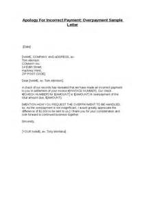 apology for incorrect payment overpayment sle letter