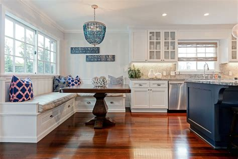 Good Coastal Themed Kitchen Decor #3: Cottage-kitchen-with-white-cabinets-and-window-seat.jpg