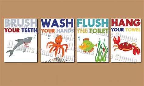 kids bathroom signs cartoon fish signs for kids bathroom instant download