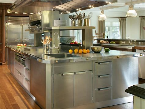 Metal Island Kitchen Stainless Steel Kitchen Cabinets Pictures Options Tips Ideas Hgtv