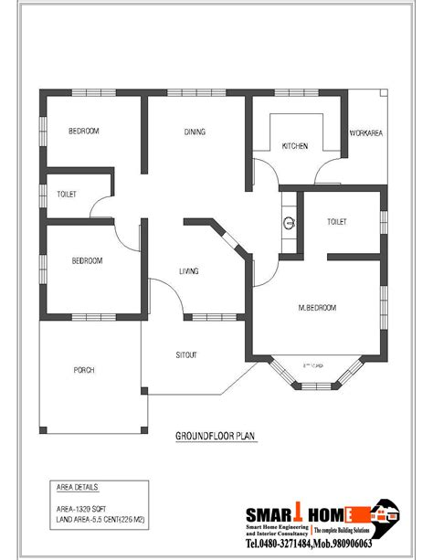 floor plan for one bedroom house 1320 sqft kerala style 3 bedroom house plan from smart