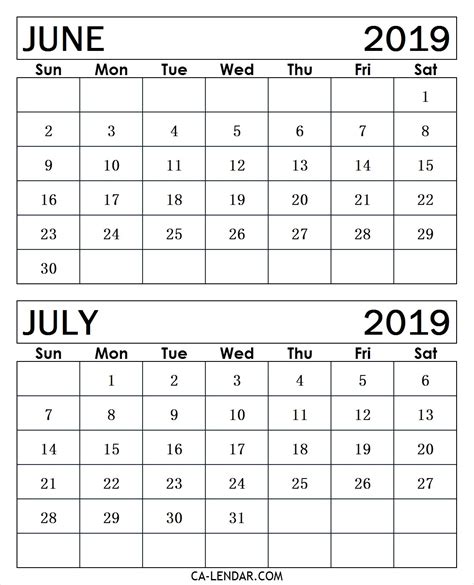 printable june  july  calendar monthly templates