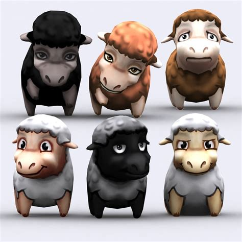 Kaos Animal Character 08 chibii sheep animals 3ds