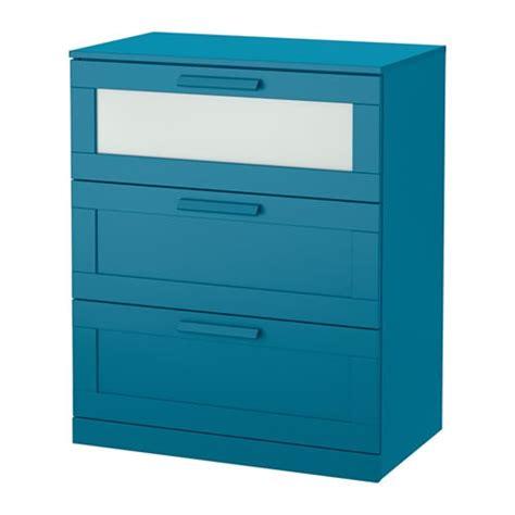 brimnes commode 224 3 tiroirs bleu vert fonc 233 verre d 233 poli
