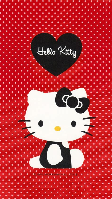 hello kitty red iphone wallpaper black hello kitty with red dot background wallpaper free