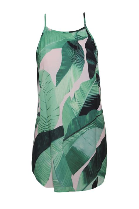 Sleeveless Leaf Print Dress cheap green leaf print sleeveless dress wholesale