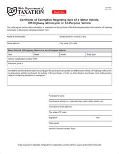 Blanket Exemption Certificate Ohio by Form Stec Mv Fillable Certificate Of Exemption Regarding