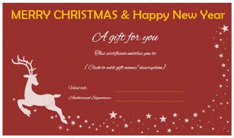 christmas   year gift certificate reindeer design