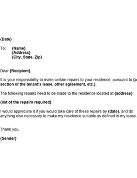 Exle Of Request Letter For Repair Request For Landlord Repairs Template