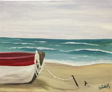 boat anchor paint boat at the beach quot anchored quot 16x20 acrylic on canvas