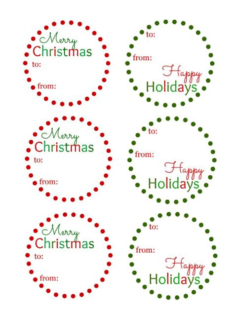 printable christmas gift tags  spot green living