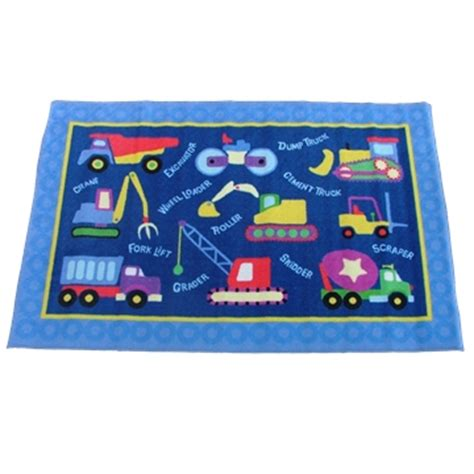 Construction Play Rug by Construction Site Trucks Play Mat Rug