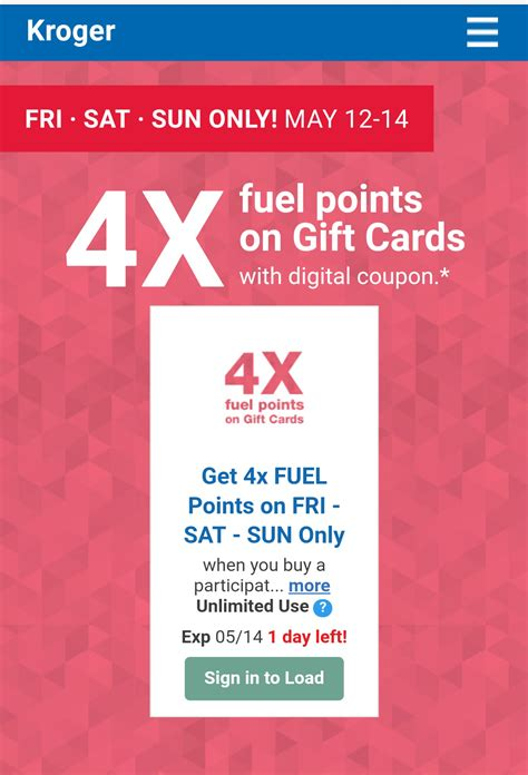 Kroger Gift Cards 4x Points - kroger 4x fuel points on gift cards through tomorrow frequent miler