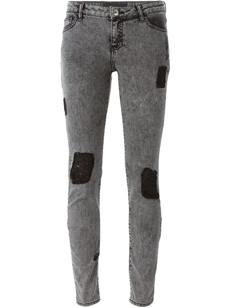 black x black denim each x other patched skinny jeans in black lyst