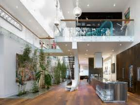 modern custom home with central atrium and interior bamboo