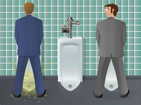 guys using the bathroom the unfortunate physics of male urination